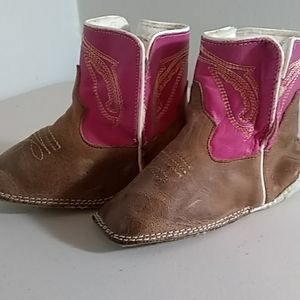 Anderson Bean Baby Girls Brown/Pink Leather Boot